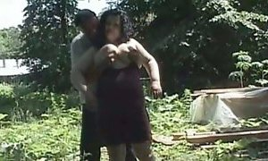 Busty ugly country chick gets fucked right in the woods