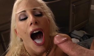 blonde, cock, hardcore, kitchen, milf