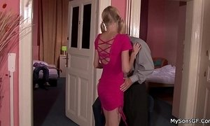 Blonde gf cheating him riding another cock