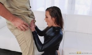 Deep rough anal doggy fucking for a hot babe in black bodysuit