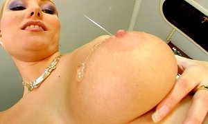 A hot blonde with natural big tits gets her ass drilled