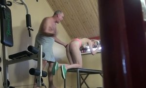 Yummy blondie Eva is fucked by one elder dude at the gym