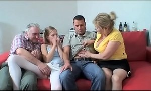 Grandfather fucks orgy with three girls #2
