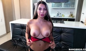 Burning with desire Lating chick Catalina Diaz is fucked by one hot blooded stud