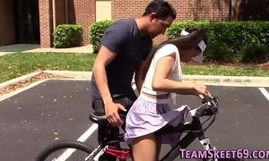 Tiny latina teen rides
