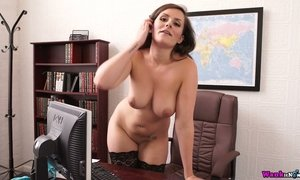 Big tittied book keeper Charlie Rose strips in the office