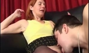 Half-naked mature lady gets asshole stretched to the limit