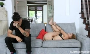 Exciting hot brunette Marilyn Mansion got tied up and fucked hard