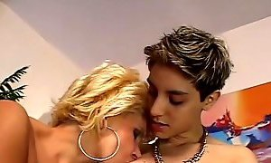 Lesbians - Busty Mature seduced by a skiny Teen