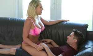 blonde, caught, milf, naughty mom, stepmother