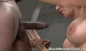 Busty Brunette Anal Fucked with Black Cock