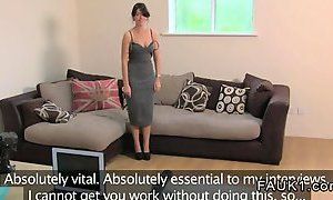Busty British amateur fucks on her casting