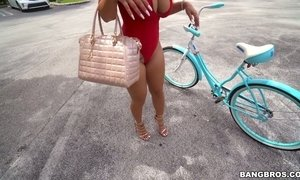 Oversexed big tittied milf Nina Kayy is riding her bicycle and a hard pole