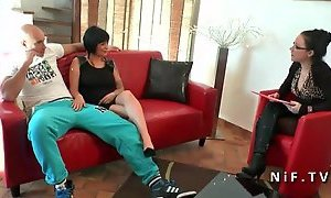 Amateur french couple with a busty milf getting sodomized
